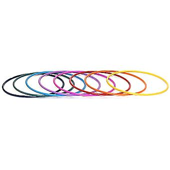 Set of 8 Rainbow Coloured Iron Bangles