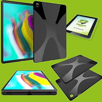 Silikon Hülle Tasche Schwarz für Samsung Galaxy Tab S5e 10.5 T720F + Hartglas