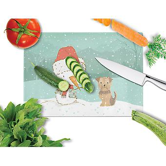 Yorkie Natural Ears Snowman Christmas Glass Cutting Board Large