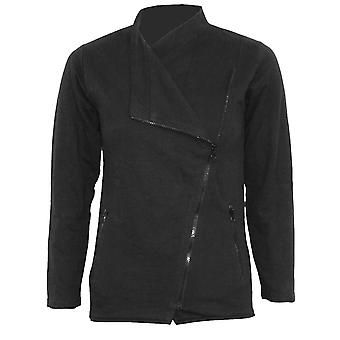 Spiral Direct Gothic METAL STREETWEAR - Slant Zip Women Biker Jacket Black|Metal
