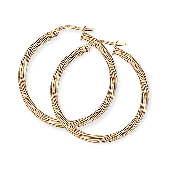 Jewelco London Ladies 9ct Giallo Oro Livolgo Candy Twist Hoop Orecchini - 28mm