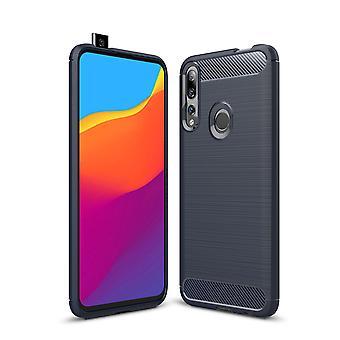 Huawei Y9 Prime 2019 TPU Case Carbon Fiber Optik Brushed Schutz Hülle Blau