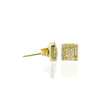 Earrings Square Thick Micro Pave Gold [7, 5mm]