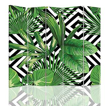 Room Divider, 5 Panels, Canvas, Leafy Composition