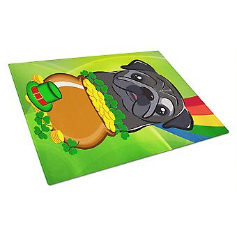 Black Pug St. Patrick's Day Glass Cutting Board Large BB2007LCB