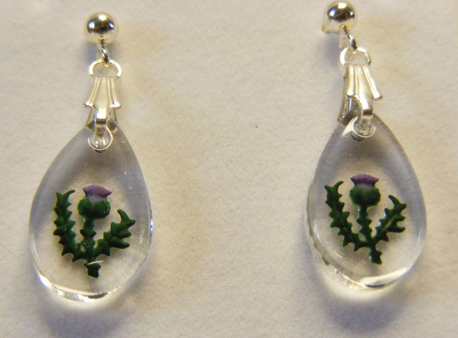Hand Painted Thistle Teardrop Earrings and Small Pendant set