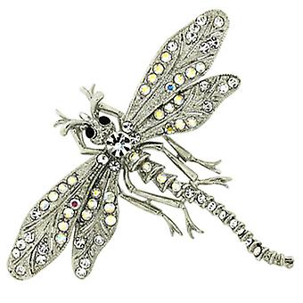 Brooches Store Silver Clear & AB Swarovski Crystal Dragonfly Brooch Pendant