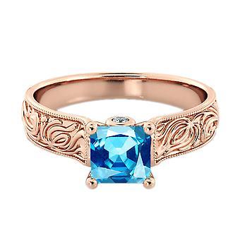Blu topazio 2.06 ctw anello con diamanti 14k Rose Gold Filigree Cattedrale Principessa