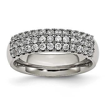 Titan polert mange--rad kubikk Zirconia Ring - Ring størrelse: 6 til 8