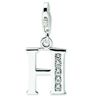 Sterling Silver CZ Letter H With Lobster Clasp Charm - Measures 24x12mm