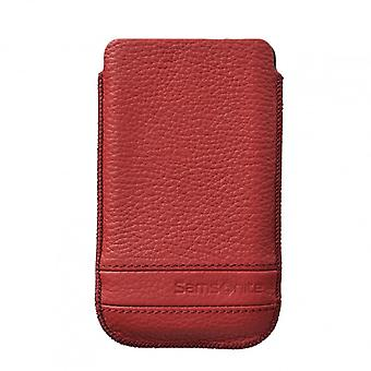 SAMSONITE CLASSIC Mobile bag leather L Red to tex S2