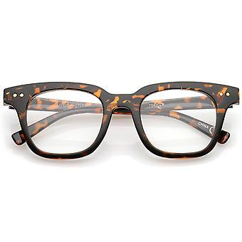 Moderne Metall Nieten Quadrat klar flache Linse Horn umrandeten Brille 46mm