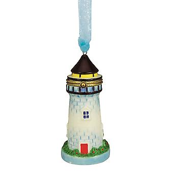 Lighthouse Hinged Box Christmas Holiday Ornament Ceramic 4.75 Inches