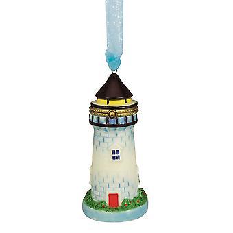 Faro con bisagras caja Navidad vacaciones adorno cerámica 4,75 pulgadas