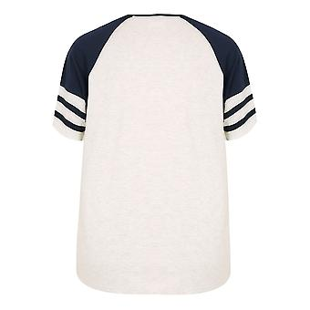 BadRhino Navy & Cream Marl Baseball Stripe Sleeve T-Shirt With Button Detail