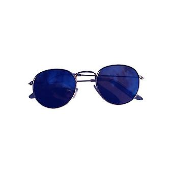 Cool urban sunglasses with blue mirror glass gold