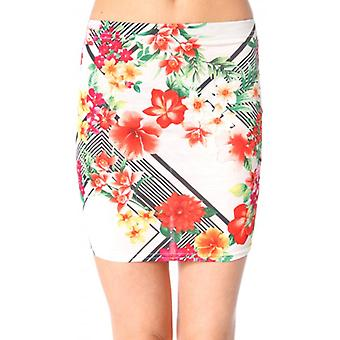 The Fashion Bible Davina Floral Bodycon Mini Skirt In White