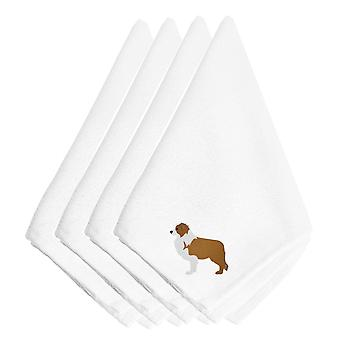 Carolines Treasures  BB3422NPKE Red Border Collie Embroidered Napkins Set of 4