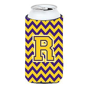 Letter R Chevron Purple and Gold Tall Boy Beverage Insulator Hugger