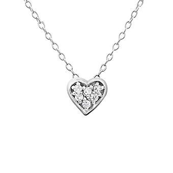 Heart - 925 Sterling Silver Jewelled Necklaces - W18530x