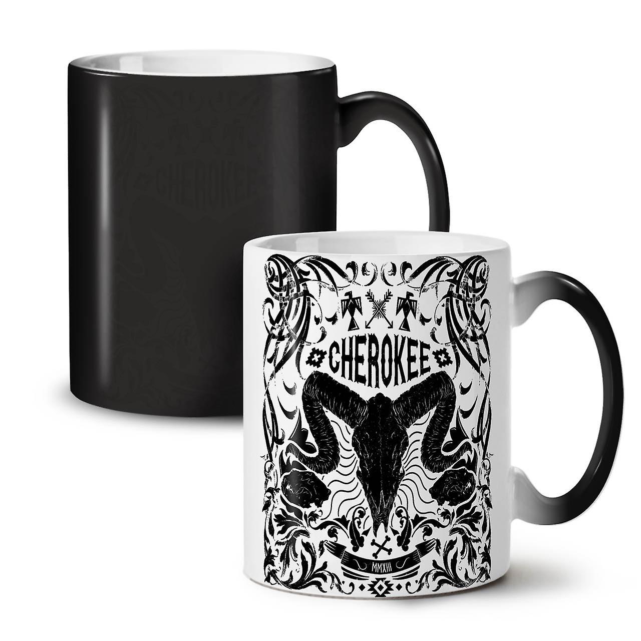 Noir Céramique Crâne Nouveau Thé Cherokee OzWellcoda Changeant Tasse Vintage Café 11 Coloris qzGSMVLpU