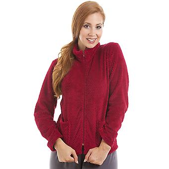 Camille Womens Zip Front donkerrood zachte Fleece Bed jas