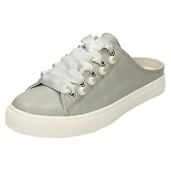 Ladies Spot On Backless Lace Up Pumps - Grey Synthetic - UK Size 3 - EU Size 36 - US Size 5
