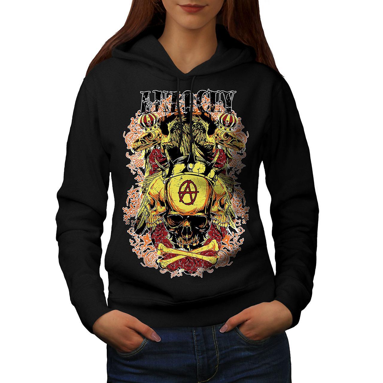 Anarchy Death Eagle Skull Women Black Hoodie | Wellcoda