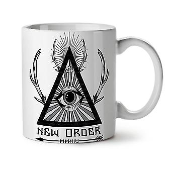 New World Order NEW White Tea Coffee Ceramic Mug 11 oz | Wellcoda