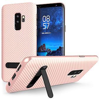 S9 Samsung Galaxy Plus carbono fibra TPU Gel con soporte - oro rosa