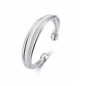 Womens Silver Bracelet Bangle with Weave Design