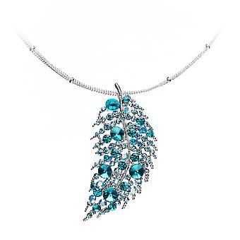 Sheet necklace adorned with Swarovski Turquoise crystals and Silver Plated Mount
