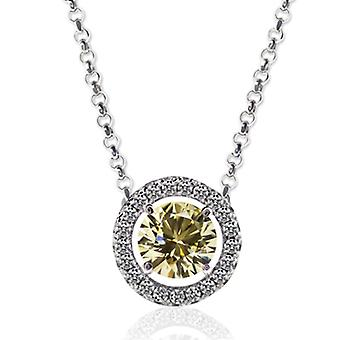 Carat London 1.25Ct Canary Yellow Brilliant Boarder Set Necklace