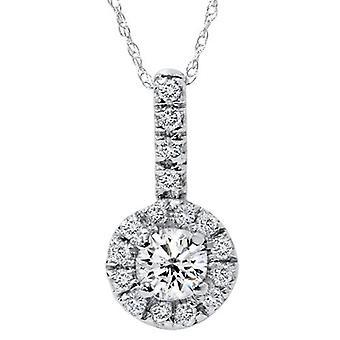 Vitt guld 3 / 4ct Diamond bana Halo Solitaire diamant hänge
