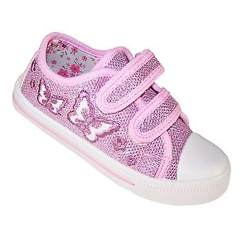 Girls pink sparkly butterfly trainers