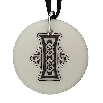 Handmade Celtic Initial Round Shaped Porcelain Pendant - Letter 'I'