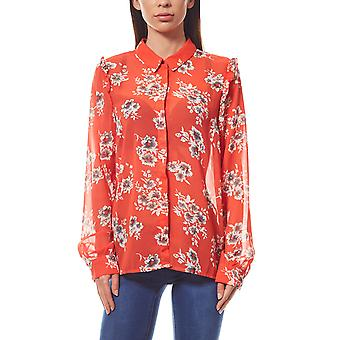 VERO MODA chiffon blouse women's ruffle Red