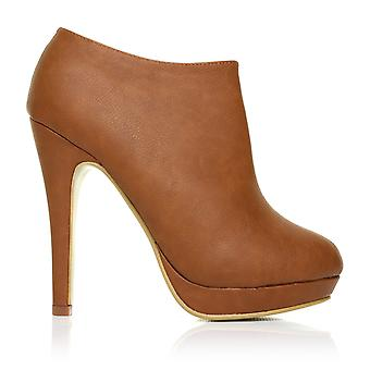 H20 Tan PU Leather Stilleto Very High Heel Ankle Shoe Boots