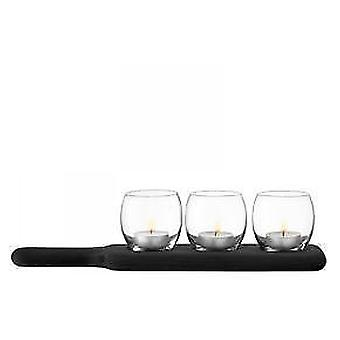Lsa Paddle Tealight Holder Set & Black Beech Paddle Clear L34Cm