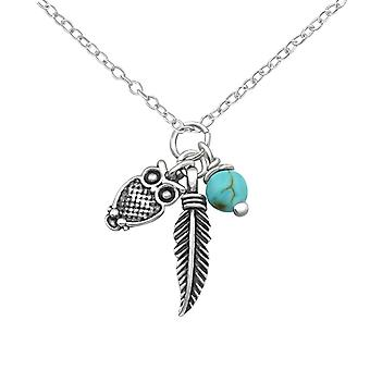Owl And Feather Charm - 925 Sterling Silver Jewelled Necklaces - W34879x