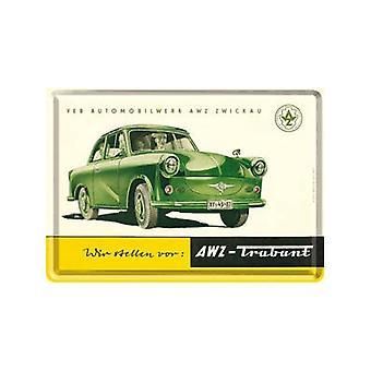 Trabant (grøn) Miniature Metal tegn / Metal postkort