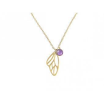 Alas de mariposa - damas - collar - colgante - plata 925 - oro plateado - de Gemshine - amatista - Violeta - Violeta - 45 cm
