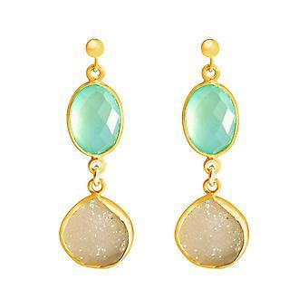 Gemshine - ladies - earrings - 925 sterling silver - gold plated - DRUZY - white - quartz - chalcedony - aqua blue - 4 cm