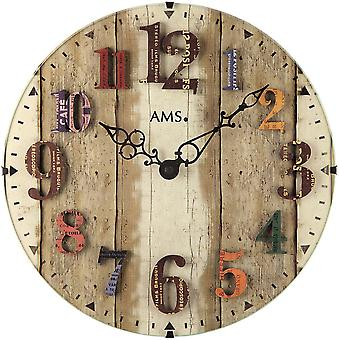Quartz wall clock colorful shabby vintage wall clock domed mineral glass, numbers