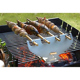 Spit barbecue grill attachment bracket stainless steel 4 beech wood skewers Steckerl fish