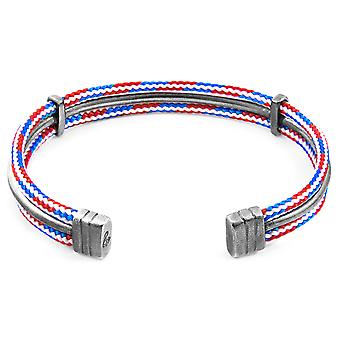 Anchor & Crew Project-RWB Red White and Blue Aire Silver and Rope Bangle