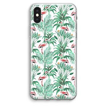 iPhone XS Max Transparent Case (Soft) - Flamingo leaves