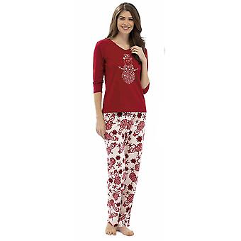 Ladies Foxbury Animal Glitter Print Winter Long Pyjama pajama Sleepwear