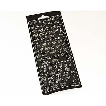 Black Christmas Advent Calendar Number Stickers for Crafts - Peel Off Style