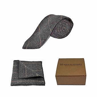 Luxury Herringbone Charcoal Grey Tweed Men's Tie & Pocket Square Set | Boxed